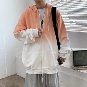 Erkek Sonbahar Degrade Renk Hoodies Moda Retro Rahat Kapüşonlu Kazak Erkek Streetwear Gevşek Hip Hop Hırka Hoodies