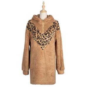 2021 New Leopard Patchwork peluche vestito con cappuccio Donne autunno inverno manica completa sopra il vestito sovradimensionato del ginocchio
