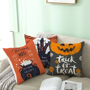 Halloween Pillowcase Linen Pumpkin Pillow Cover Pumpkin Letter Pillowcase Thanksgiving Cushion Covers Sofa Home Decorative BH4378 WXM