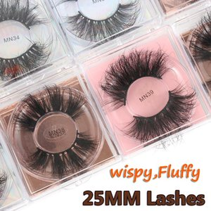 1 Pair Handmade 3D Mink False Eyelashes 25mm Natural Long Wispies Eyelashes Extension Wispies Criss-cross Lashes Cruelty-free