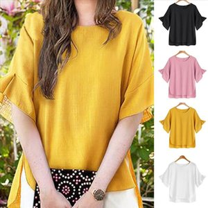 NEW Blouses Women Casual Plus Size cotton linen Loose Short Sleeve Solid Shirt Blouse Top for Clothing Free Shipping blusa f3