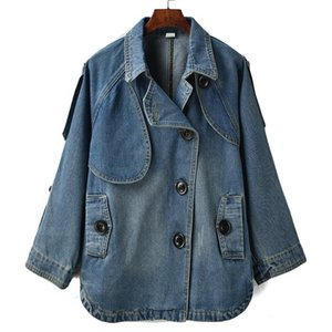 Women's new 2020 autumn winter long-sleeved denim jacket women fashion Medium length wild Han Fan single-breasted denim jackets