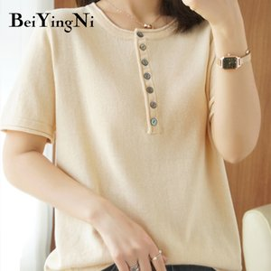 Beiyingni Women T Shirt Knitted Vintage High Quality Loose Plus Size T-shirts Female Buttons Chic Thin Knit Tops Ladies Clothes F1217