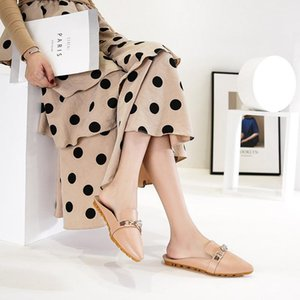 New Style Ladies Baotou Pointed Sandals and Slippers Women Xia Exquisite Rhinestone Horsebit Mules Shoes Women Aike Asia1