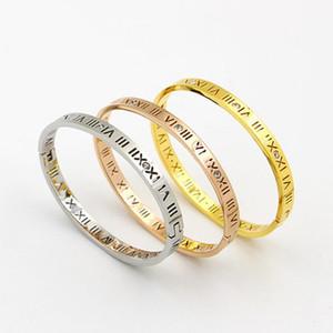 Hollow Roman Numerals Letter Thin Bracelets Stainless Steel Bangles Luxury Crystals Bangles Women Love Arm Cuff Bracelets K050-1 sqcnoL
