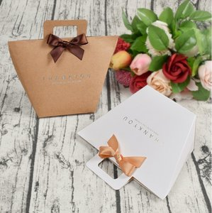 Thank you gift box bag with handle foldable wedding kraft paper candy chocolate perfume packaging simple