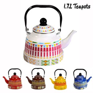 1.7L Whistling Enamel Tapot with Steel Handle Exquisite Enamelled Stovetop Kettle Traditional Bone China Teapots Luxirious Metal Jug DHD2280