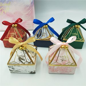 Gift Box Wedding Supplies Party Candy Box Baby Shower Paper Chocolate Boxes New Prismatic Creative Bronzing Packaging Boxes Y1121