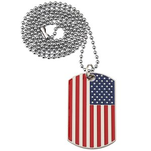 New Gold Plated Stainless Steel Military Army Tag Trendy USA Symbol American Flag Pendants Necklaces for Men women Jewelry DHF3397