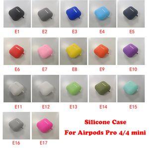 Funda de silicona suave para Airpods Pro 4 mini Slim TPU Tapa inalámbrica Bluetooth Bluetooth para AirPods 1/2/3 con gancho de metal