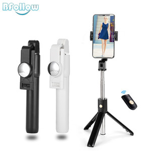 BFOLLOW 3 in 1 Selfie Stick with Tripod Bluetooth Mirror Handheld Gimbal for iPhone Xiaomi Tiktok Shoot Video Call Youtuber Y1128