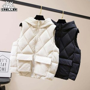 GRELLER 2020 New Down Cotton Vest Women Winter Short Waistcoat Outerwear Sleeveless Jacket Coat Hooded Autumn Cotton Vest Female