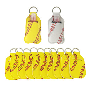 Neoprene Cover Baseball Softball Keychains Chapstick Holder RTS for Hand Sanitizer Bottle Gel Holder Sleeve Key Chain Ring pendent GWF4225