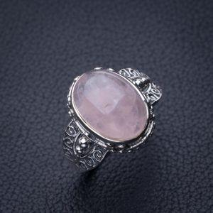 Stargems Natürlicher Rosenquarz Handgemachte 925 Sterling Silber Ring 9 E2795 W1231