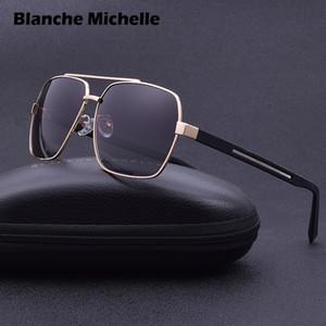 2019 High Quality Square Sunglasses Men Polarized UV400 Sport Sun Glasses For Male Driving Gold Frame Retro oculos With Box Q1128