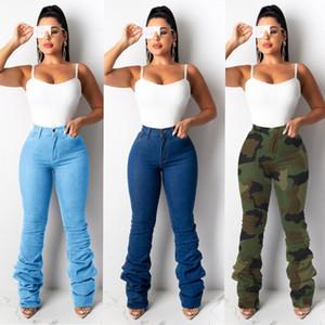 Bayanlar Yeni Moda Yığılmış Kot Pantolon Yüksek Bel Kadınlar Için Kamuflaj Denim Kot Pantolon Geniş Bacak Pantolon