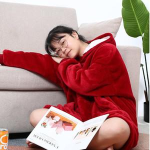 Унисекс теплый толстый пуловер флис с капюшоном свитер одеяло для взрослых и детей Флисовые одеяла для кроватей дома Pajamas ночное платье HH9-3683