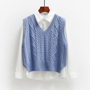 2020 Spring And Autumn Sleeveless Knitted Sweater Vest Vest Coat Korean Womens Loose College Style