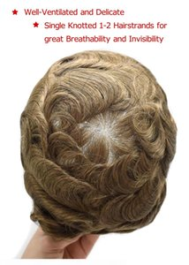 Aohai Fine Mono человеческих волос Мужской Toupee Шиньон Poly кожа вокруг замены системы волос Прочного НПУ мононити парика волос для мужчин