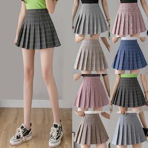 Women Plaid Pleated Skirts Kawaii High Waist A-line Mini Skirts Plus Size Summer Harajuku Korean Japanese School Uniform Q1117