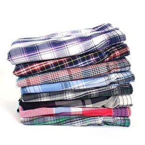 5 pcs Mens Underwear Boxers Shorts Casual Cotton Sleep Underpants Quality Plaid Loose Comfortable Homewear Striped Arrow Panties 201023