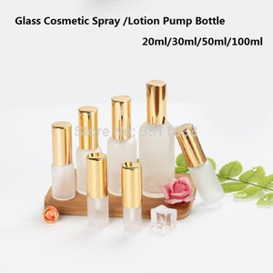 Essence Oil Lotion Pump Bottle Cosmetic Containers Bottle Spray Frosted Glass Empty Vial 10ml 15ml 20ml 30ml 100ml 15Pcs1