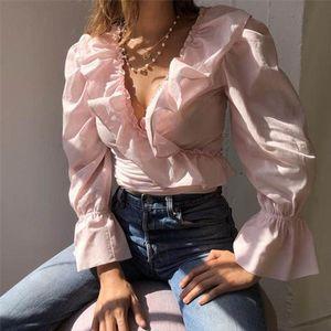 2019 Women Chiffon Ruffle Blouse Sweet Chiffon Blouse Frilly V neck Long Sleeve Cute Woman Fashion Casual Shirt Stylish Blouses