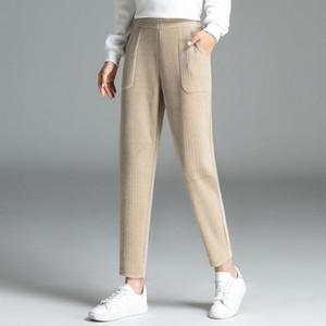 Rainier Tissu côtelé velours velours côtelé carrot pantalon harem pantalon décontracté femmes sprin automne plus taille 4xl noir bleu