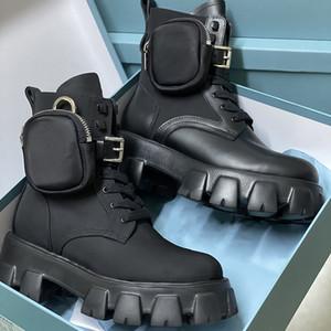 النساء ريال الأحذية نايلون ديربي مارتن الأحذية أعلى جودة معركة جلدية أحذية الكاحل الأسود المطاط الوحيد منصة الأحذية النايلون الحقيبة مع مربع
