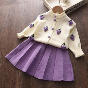 Girl Set 2020 New Autumn Girls Cartoon Stawberry Clothing Set Kids Knitted Sweet Christmas Children Casual Clothes Princess Suit