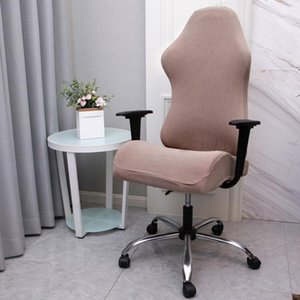 Washable Gaming Chair Cover Easy Install Solid Stretch Computer Seat Slipcover Removable Polyester Home Office Soft Reusable