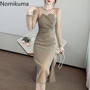 Nomikuma Autumn New Dress Women Dot Mesh Patchwork Split Long Sleeve Dresses Fake Two Piece Korean Style Vestidos Mujer 3d373