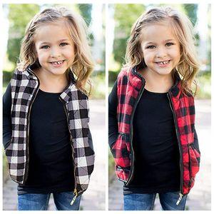 Kids plaid Warm Vest with Pocket Girls Check Sleeveless Jacket zipper Outwear Waistcoat tank Autumn Winter coat LJJA3671-13