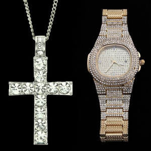Hip Hop Watch & Necklace Combo Set Luxury Gold Color Stainless Steel Necklaces Chain Ice Out Cuban Watches For Men Jewerly 201013