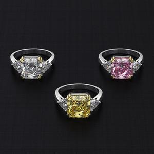 Wong Regen 100% 925 Sterlingsilber Erstellt Moissanite Citrine Saphir-Edelstein-Hochzeit Engagement Ring edlen Schmuck Großhandel 201118