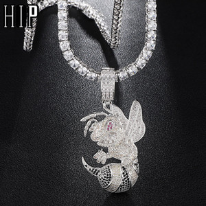 Hip Hop Iced Out Bling Cubic Zircon CZ Bean Necklaces &Pendants For Men Jewelry With Tennis Chain Y1130