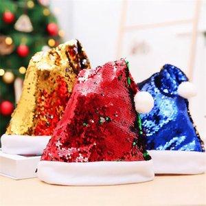 Paillettes Chapeaux Double Flip Christmas Petit Chapeau Petit Anneau Adulte Christmas De Noël Brillant Santa Hats Festive Party Décorations GWB3675