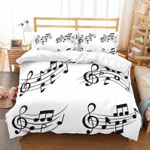 Bedding Set Piano Keyboard Sheet Music Note Duvet Cover Queen Size Bed Linen Comforter Cover 2 3 Set Microfiber Bedding Sets