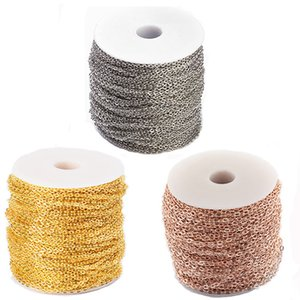100m Roll 3mm 4mm Unwelded Iron Cable Chains with Spool for Jewelry Making DIY Bracelet Necklace Finding Golden Silver Color