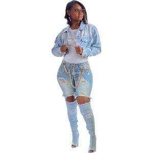 Agujero de las mujeres Pantalones cortos de gradiente Irregular Luz azul Slim Fit de verano Longitud de la rodilla Ladies Tassel Jeans