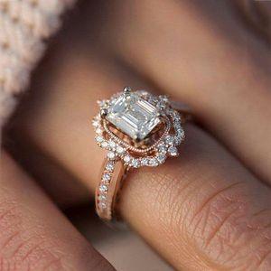 AUS 80% Neue Rose Gold Überzogene Zirkon Square Diamant Princess Ring Mode Engagement Zubehör