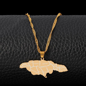 Fashion Jamaica Map Pendant Necklace Stainless Steel Charm Jewelry For Man Women Charm Collar Necklace Gold Color Clavicle Chain