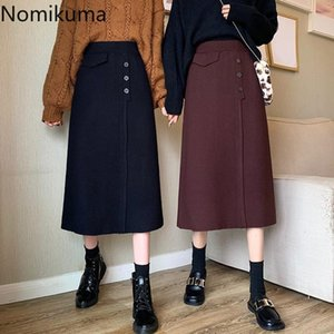 Nomikuma 2020 Otoño Invierno Mujeres de punto faldas de cintura alta de Corea del suéter elegante falda causal de una línea de Midi Faldas Mujer 6D344