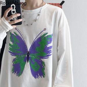 Rockulzzang Butterfly Gráfico Camiseta de gran tamaño Streetwear T Shirt Caída Pareja Ropa Mujer Hombre Harajuku Algodón Top TEE COREAN