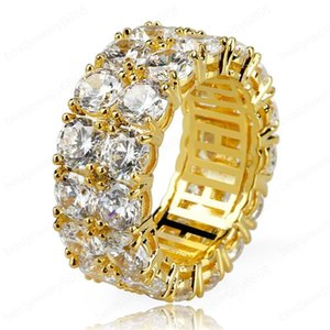 High Quality Gold Plated Gold Silver Colors Hip Hop 2 Row Round Zircon Tennis Ring for Men Women