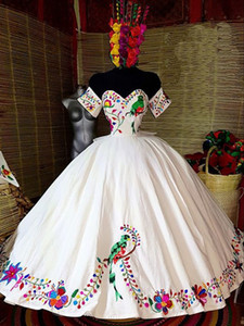 Fabulous Embroidery 3D Flowers Ball Gown Mexican Quinceanera Prom Dresses Sweet 16 Dress Vestidos 15 Anos Party Gowns