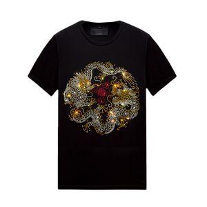 Casual Hot Rhinestone Mens Womens camisetas Tops de Manga Curta Tops Confortável de Algodão Mercerizado para o Verão, Unisex