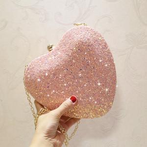 Lovely Pink Glitter Frauen Herz Metall Minaudiere Handtasche Light Blue Abendtasche Multi Color Hochzeit Geldbörse Brautpartei Clutch Q1116