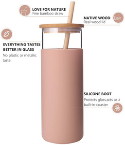 Glass Tumbler with Straw 20oz Glass Water Bottle with Silicone Protective Sleeve Bamboo Lid - BPA Free (Amber)