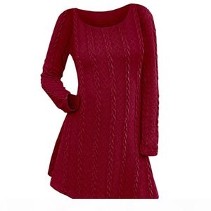 Wipalo Cable Knit Tunic Sweater Dress 2018 Women Dresses Casual Solid O Neck Long Sleeve Mini Dress Fall Spring A Line Vestidos